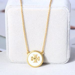 Tory Burch Shell Natural Stone Lucky Icon Necklace